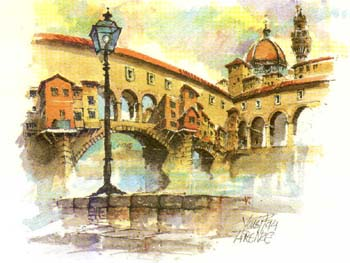 Watercolor postcard of the Ponte Vecchio